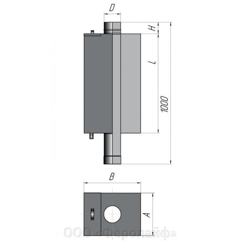 Бак для бани (прямоугольный) Ø 115 55 литров